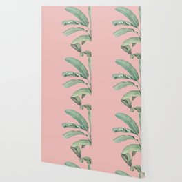 Green leaves on rose ink Wallpaper