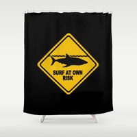 surfboard Shower Curtains featuring Yellow Shark Warning Sign Surf At Own Risk Surfboard by Rothko