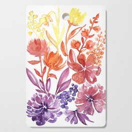 Floral abstract and colorful watercolor illustration Cutting Board