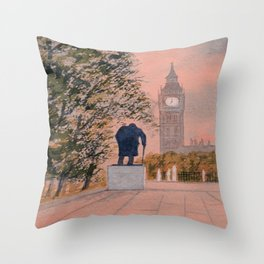 Churchill And Big Ben Throw Pillow