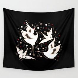 Origami Crane Metamorphosis (Noir) Wall Tapestry