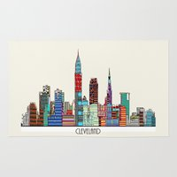cleveland Area & Throw Rugs featuring Cleveland city  by bri.buckley