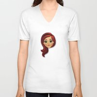 redhead V-neck T-shirts featuring Redhead by Lindella