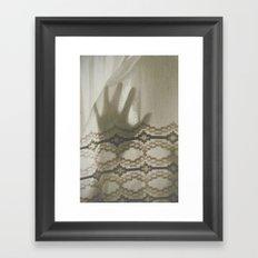 The Boy Behind The Curtain Framed Art Print