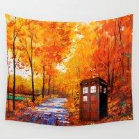 marauders Wall Tapestries featuring Tardis Autumn Art Painting by Kesen