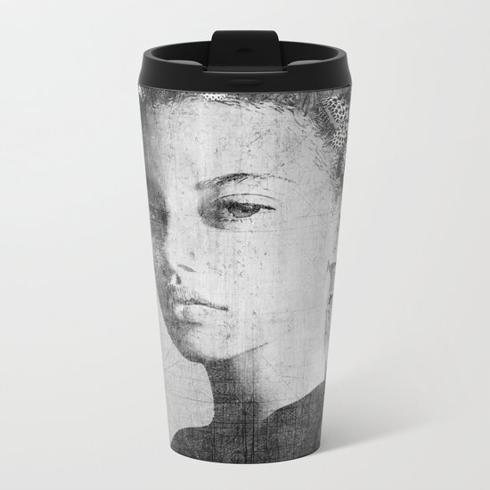PORTRAIT (Woman with butterflies) Metal Travel Mug