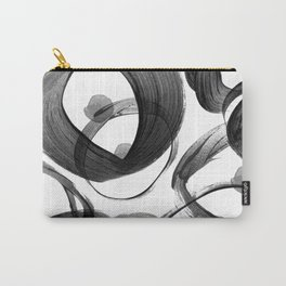 Modern abstract black white hand painted brushstrokes Carry-All Pouch
