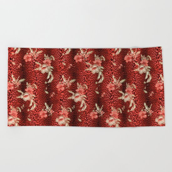 Wild Red Leopard and Flowers Beach Towel