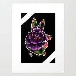 Rabbit Rose Silhouette Art Print