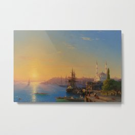 View of Constantinople and the Bosphorus Landscape Masterpiece by Ivan Aivazovsky Metal Print