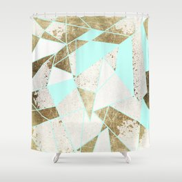 Modern Rustic Mint White and Faux Gold Geometric Shower Curtain