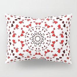 pink red black heart mandala Pillow Sham