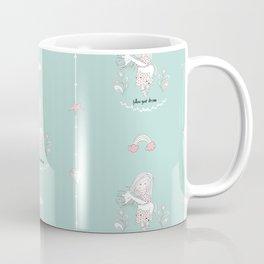 Unicorn and Girl - Follow Your Dream - Seamless Pattern Coffee Mug