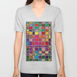 Stained Glass Window Multicolour Pattern Unisex V-Neck