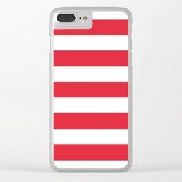 Alizarin crimson - solid color - white stripes pattern Clear iPhone Case