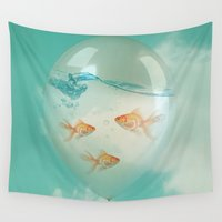 fish Wall Tapestries featuring balloon fish 03 by Vin Zzep