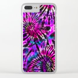 Purple Tie Dye Madness Clear iPhone Case