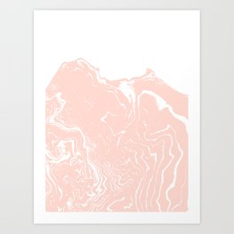 Chiyo - spille dink abstract marble pattern water pisces ocean wave rose gold Art Print