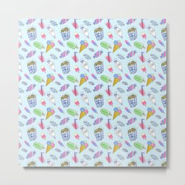 Cute candy and ice-cream pattern Metal Print
