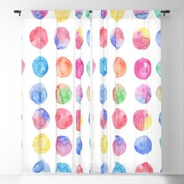 Artistic hand painted pink blue green watercolor brush strokes polka dots Blackout Curtain