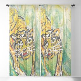 Tiger in th jungle Sheer Curtain