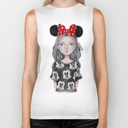 Minnie Mouse Inspired Style Girl Drawing Biker Tank