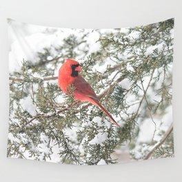 Cardinal on a Snowy Cedar Branch (sq) Wall Tapestry