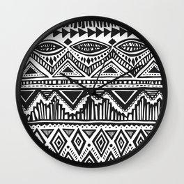 zig-zag handdrawn black and white Wall Clock