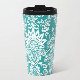 Damask in emerald Travel Mug
