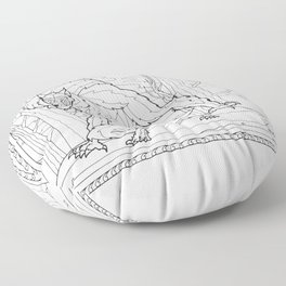 Werewolf from the Bestiary Coloring Book Floor Pillow