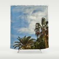 palms Shower Curtains featuring Palms by Magic Emilia