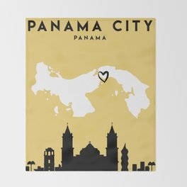 PANAMA CITY PANAMA LOVE CITY SILHOUETTE SKYLINE ART Throw Blanket
