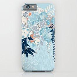 Japanese Kimono Motif With Crane iPhone Case