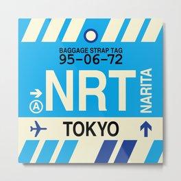 NRT Tokyo (Narita) • Airport Code and Vintage Baggage Tag Design Metal Print