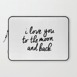 I Love You to the Moon and Back black-white kids room typography poster home wall decor canvas Laptop Sleeve