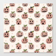 Pumpkin halloween jack-o'-lantern fall autumn carving cute pattern Canvas Print