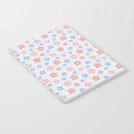 Blue Pink Flower Pattern Notebook
