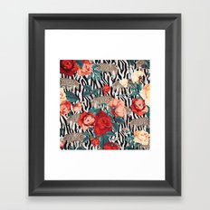 Pattern flowers-animals Framed Art Print