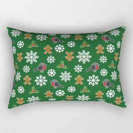 Christmas / Winter Robin Holly Gingerbread Man Snowflakes Pattern Green Rectangular Pillow