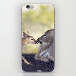 White-tailed female deer with  her  little baby iPhone Skin