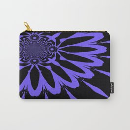 The Modern Flower Black and Periwinkle Purple Carry-All Pouch