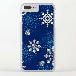 Navy blue aqua white geometrical Christmas snowflakes Clear iPhone Case