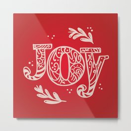 Joy Festive Design for Christmas in Red and Beige Metal Print
