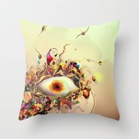 third eye Throw Pillows featuring Third Eye by Igor Šćekić