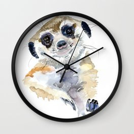baby meerkat portrait Wall Clock