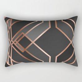 Art Deco Gold Grey Black Pattern Rectangular Pillow