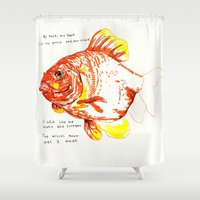 goldfish Shower Curtains featuring goldfish by withapencilinhand