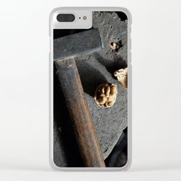 Hammer and walnut Clear iPhone Case
