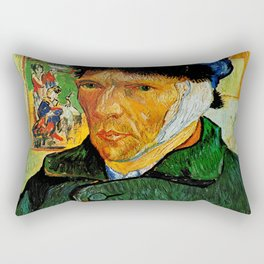 Van Gogh, Self-Portrait with Bandaged Ear and Pipe  – Van Gogh,Vincent Van Gogh,impressionist,post-i Rectangular Pillow
