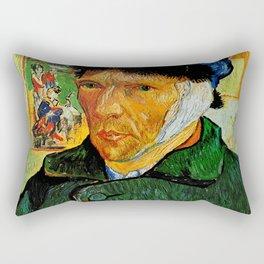 Van Gogh, Self-Portrait with Bandaged Ear and Pipe  – Van Gogh,Vincent Van Gogh,impressionist,post-i Rectangular Pillow